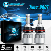 9007 HB5 LED Headlight High/Low Beam 2000W 300000LM 6000K White Bulb Light PAIR