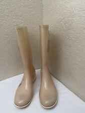 Chanel Camellia CC Logo  Glitter Ivory Rubber Rain Boots Women Sz 39/ US 8.5