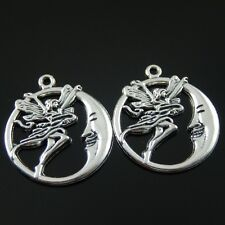 08739 Vintage Style Silver Tone Round Moon Fairy Pendant Charm Finding 15pcs