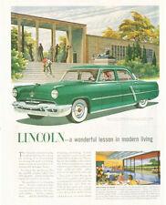 1952 Lincoln PRINT AD Beautiful Green 4 dr Manhattan Modern Art Museum