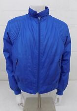Vintage 1980s Sasson Blue Cotton Banded Collar Jacket w/Padded Shoulders Size 44
