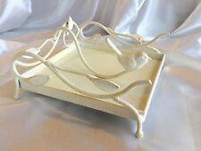 New Vintage Style White Cream Cast Iron Napkin Holder, Rustic Cream Bird Decor