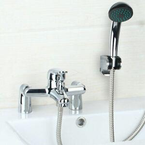 2 Handles Chrome Bathroom Deck Mount Basin Tub Tap Hand Held Shower Mixer Faucet