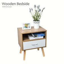 New Natural Bedside with Drawer Wooden Cabinet Side Table Nightstand Storage
