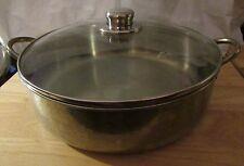 """Vintage Stainless Steel 12"""" saute skillet frying pan  w/lid made in Korea used"""