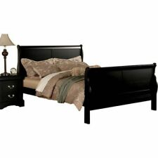 California King Bed Frame Black Cal Wood Headboard Footboard Bedroom Furniture