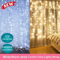 3*3M 300 LED Curtain String Fairy Light Christmas Wedding Lighting Waterfall Bu