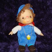 "Adorable little 50's Boy Doll with a Cupcake Hanging around his Neck Sz 9""x 4"""