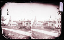 ANTIQUE GLASS NEGATIVE, FC PHILPOT, LIMERICK ME. CHURCH AND LARGE HOUSE, PEOPLE