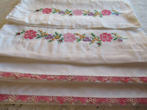 Vintage Embroidered Pillowcases 2 Sets Pink Flowers Pink Tatting Edging Cotton