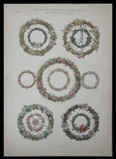 COURONNES, ANTON SEDER -1902- LITHOGRAPHIE, ART NOUVEAU, FLEURS