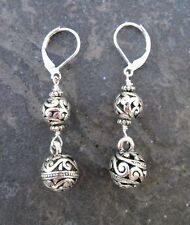 Silver Filigree Ball Earrings with Sterling Silver Leverbacks