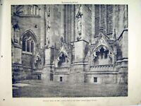 Original Old Antique Print 1900 View Lady Chapel Recessess Lichfield Cathedral