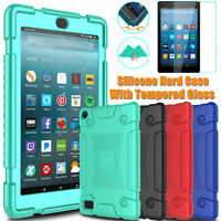 For Amazon Kindle Fire HD 7 2017 Hybrid Soft Silicone Case Cover Tempered Glass