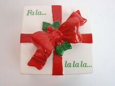 Fitz Floyd Japan Ceramic Gift Box White Red Bow Christmas Fa La La La Trinket