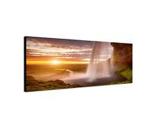 150x50cm Wandbild Panorama Seljalandsfoss Wasserfall Island Leinwand Sinus Art