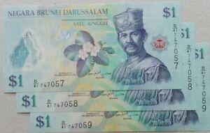 Brunei 2016 5th Series $1 3 pcs Running Number Note D/41 747057 - 059