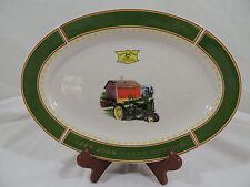 JOHN DEERE MEMORIES by Gibson Cream Green Rim Barn Tractor Oval Serving Platter