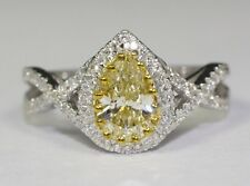 14k White Gold Pear Canary Yellow Diamond And Round White Diamonds Ring Size 7
