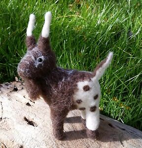 Handmade Felted Wool Goat Nanny Billy Kid Soft Sculpture Farm Animal Stuffed