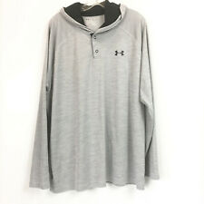 Under Armour Mens Sz Xl Hoodie Shirt Gray Heatgear Loose Fit Hooded Athletic Top