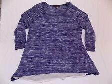 M Fever Medium Ladies Shirt Top Sweater Blouse Sheer Lace Blue White Oversized M