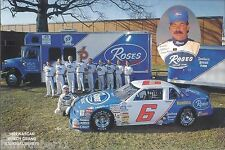 """1992 TOMMY HOUSTON """"ROSES DISCOUNT STORE"""" #6 NASCAR BUSCH SERIES POSTCARD"""