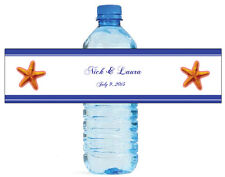 100 Starfish Nautical Wedding Anniversary Engagement Party Water Bottle Labels 8