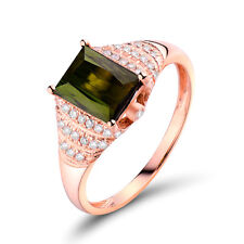 Solid 18K Rose gold 1.24ct Tourmaline & Diamond Vintage Engagement Wedding Ring