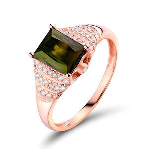 Solid 18K Rose gold 1.24ct Tourmaline & Diamond Vintage Engagement Wedding Ring