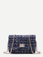 Elegant Woolen Flap Shoulder Bag with Chain Strap Royal Blue Korean S