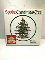 Vintage Spode Christmas Tree Double Tier Serving Tray Holiday Party NIB
