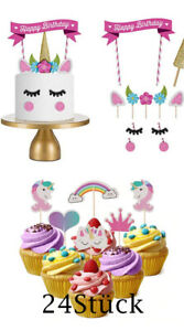 Gâteau D'Anniversaire Fille Licorne Topper Set Bâtons Muffin Déco Regenboge
