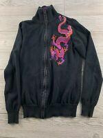 Ralph Lauren Active Women's Black/Green Full Zip Cotton Jacket S Small Dragon