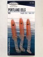 5 Packs of 3 Red Portland Eel 9cm Hook 6/0 Fishing Mackerel Lures Sea Bass Cod