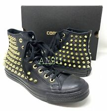 Converse Ctas High Top Studded Leather Black Gold Women's Size Sneakers  553017C