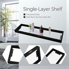 Shower Glass Shelf Black Stainless Steel Holder Single Rack Rail Bathroom Wall