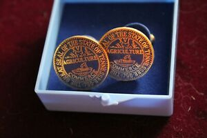 Vintage Great Seal State of Tennessee Commerce Agriculture Gold Tone Cufflinks