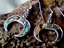 MEXICAN SILVER ALPACA 20mm.ABALONE DROP EARRINGS in a HORSESHOE DESIGN £4.99 NWT