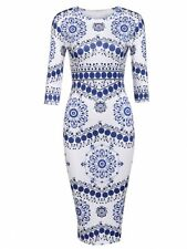 """SHEENA"" STUNNING LADIES BLUE WHITE PRINT SIZE 12-14 FITTED STRETCH PENCIL DRESS"