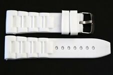 22MM WHITE SOFT RUBBER SILICONE COMPOSITE LINK SPORT WATCH BAND FITS INVICTA
