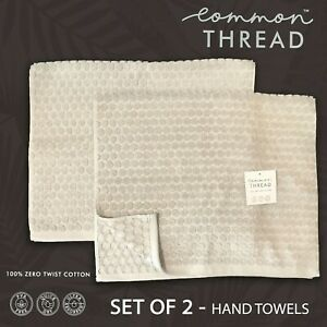 SET OF 2 - New Common Thread Hand Towels Striped Raised Textured Honeycomb Taupe
