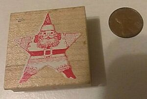 Old Wood Red White Vintage Rubber Stamp Christmas Holiday Xmas Star Shaped Santa