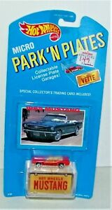 1989 Vintage HOT WHEELS Micro Park N Plates 1965 Mustang New Sealed Card E.C.