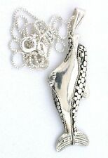2 1/10 Inch Dolphin Pure .925 Sterling Silver Pendant & 18 Inch Box Chain  PSP18