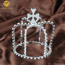 Cross Small Tiaras Crowns Clear Rhinestones Birthday Pageant Prom Party For Kids