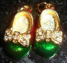 Shoe Charm Pendant Bracelet Ladies Jewelry Rhinestone Bow Red Green Christmas 2
