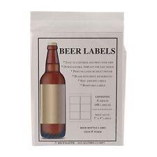Blank Beer Bottle Labels 48 pack Water Resistant Vinyl For InkJet Or Laser Print