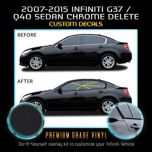Fit 07-15 Infiniti G35 G37 Q40 Sedan Window Chrome Delete Blackout - Matte Black