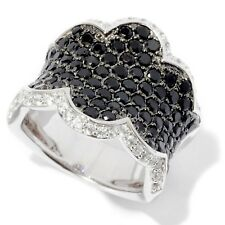 Sterling Silver 3.3ctw Black Spinel & White Zircon Band Ring, Size 7